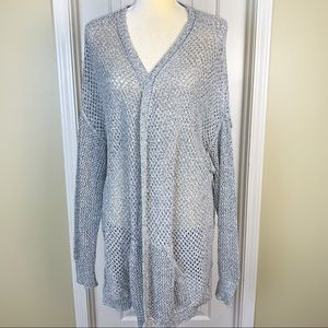 Maurices Open Knit Open Cardigan In Gray Sz 24-26